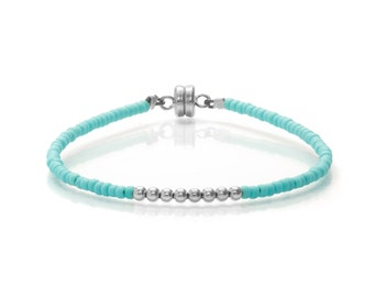Delicate Tiny Matt Opaque Turquoise & Small Silver Beaded Friendship Bracelet