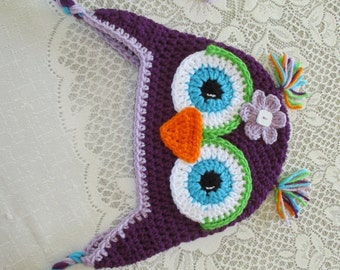 Dark Purple, Light Purple and Turquoise Crocheted Owl Hat - Photo Prop - Available in Any Size or Color Combination