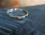 Classic And Delicate Red  Sapphire Sterling Wedding Ring. Size 6