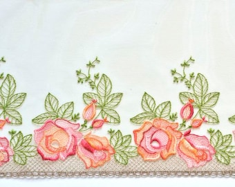 RESERVED for WENDY:Green Trim, Rose Lace Trim, Pink and Orange Roses Lace, Rose Garden Fabric Trim, Lingerie, Dolls
