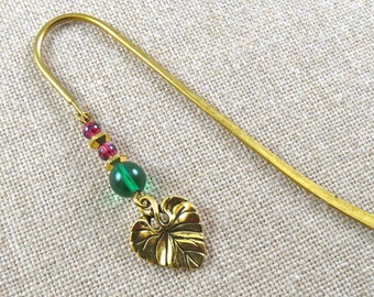 Bookmark - Gold Plated Pewter Spring Leaf and Green and Berry Pink Beads - Gold Plated Shepherd Hook, Verdigris Glass Bead
