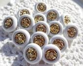 Flower Shank Buttons White Gold Roses (15)
