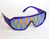 Rasslor Orange Purple Shark Teeth Shield Sunglasses