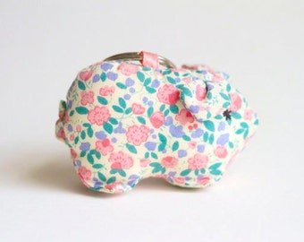 Clearance Now Half Price - Colorful Flower Pig - Soft Toy Key Ring Key Chain