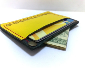 SALE -mini bag with yellow and very dark green genuine leather Wallet card holder case holds 2-4 cards, some cash/ free monogram ONLY ONE