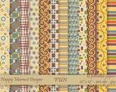"Scrapbooking Digital Paper Patterned Background Printable - 12 designs - 12"" x 12"" - 300 dpi - jpg - FUN"