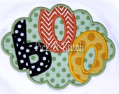 Boo Scallop Halloween Applique Design Machine Embroidery INSTANT DOWNLOAD