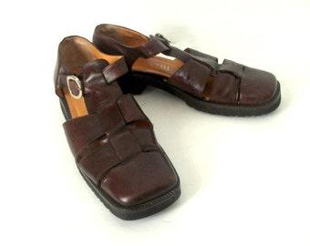 Vintage Men's Brown Woven Leather Sandals/ Italian Leather Sandals/ Chocolate Brown Size 9/Brown Shoes for Men