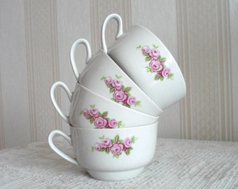 Lovely Vintage Floral Porcelain Tea Cups. Riga Porcelain Factory, RPR. Romantic Roses décor, Made in Latvia, USSR Soviet times Retro