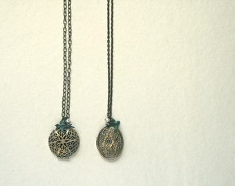 Locket Sparrow and Pearl Necklace, Long Necklace, Layered Charms, Verdigris Patina, Oxidized Brass
