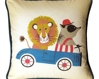 """Handmade Throw Pillow Cover with Piping, Nursery Decor,  Lion and Badger in Go Cart / 16"""" x 16"""""""