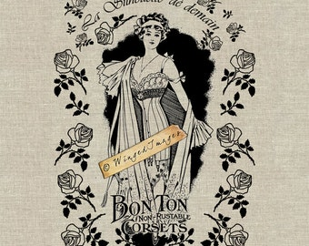 Vintage French Corset Ad Instant Download Digital Image No.11 Iron-On Transfer to Fabric (burlap, linen) Paper Prints (cards, tags)