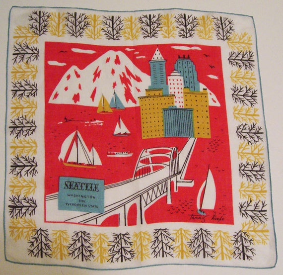 Vintage Designer Tammis Keefe City of Seattle Washington State Hankie