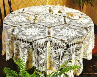 crochet doily, table decoration, center piece ,table cloth  PATTERN   (chart with  explanations )