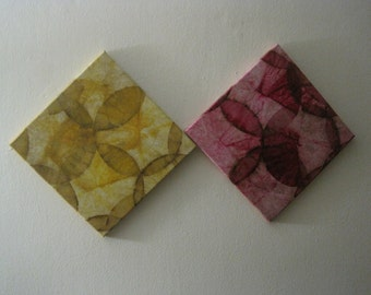 COFFEE FILTER ART - Decorative Art Canvas Yellow Wall Decor Wall Hanging Eco Home Recycled Canvas 12x12