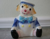 Vintage  Raggedy Andy Planter with Blonde Hair Porcelain Rubens Originals Los Angeles made in Japan