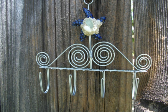 Navy Blue Metal Wall Art: Metal Wall Four Hooks With Ceramic Navy Blue Starfish Sand