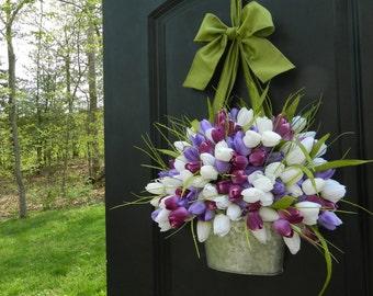 Tulip Spring Wreath - Tulip Wreath - Purple Wreath - Easter Wreath  - Tulip Pail