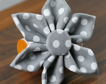 Gray Flower, White Flower, Gray and White Flower, Gray Polka Dot Flower, Gray Dog Flower, Gray Cat Flower, Cat Dog Flower - Gray Polka Dots