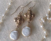 Pearl and Gold Bronze Quatrefoil Earrings