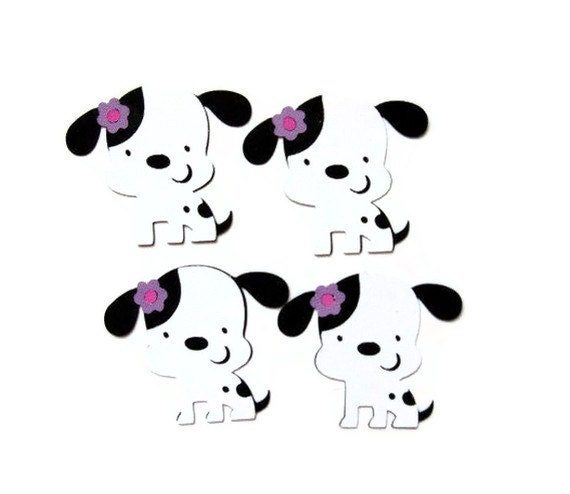Dalmatian dog die cuts - set of 4 (2 in.) - you choose your colors (C6)