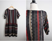 SALE /// Vintage Polka meets Stripes dress. Sheer Drop waist Dress. Size S/M