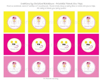 Lalaloopsy - Crumbs Sugar Cookie Party Printable Thank You Tags -  INSTANT DOWNLOAD