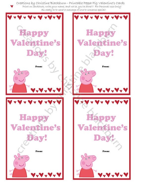 Peppa Pig Printable Valentines Day Cards INSTANT – Happy Valentines Day Printable Cards