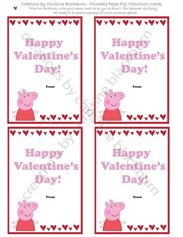 Peppa Pig Printable Valentines Day Cards INSTANT – Pig Valentine Cards