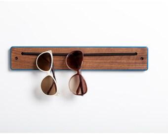 iWear Rack -Walnut with Colored Edges- Organization for sunglasses and eyewear.