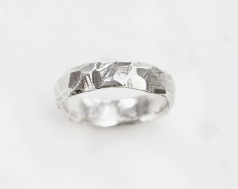 Silver rough and smooth ring - wide