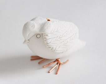 Hand Sculpted Endangered Bird Figure - Henslow Sparrow