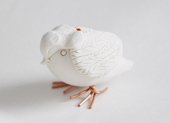 Hand Sculpted Endangered Bird Figure - Henslow Sparrow