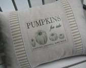 White Pumpkins, Pillows, Farmer's Market, Vintage, Summer, Ticking, Cottage, Gray, Black and White, Grey, Rustic