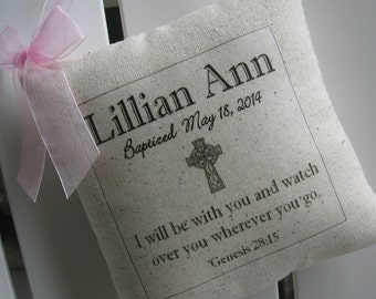 Christening, Baptism, Custom Heirloom Gifts, First Communion, Child's Name and Date, Scripture Verse, Cross Charm
