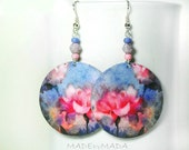 Romantic Flowers Round dangle decoupage earrings Floral motif pink blue,  gift for her under 25 (B6)