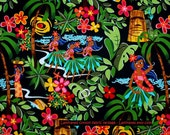 LAMINATED cotton fabric - Leis Luaus Aloha black Hawaii yardage (aka oilcloth coated vinyl fabric ) - Alexander Henry