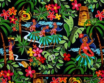 1/2 yard LAMINATED cotton fabric (similar to oilcloth) 18 x 40 - Leis Luaus Aloha black Hawaii - Henry- Approved for children's products