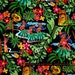 LAMINATED cotton fabric by the yard - Leis Luaus Aloha black Hawaii yardage (aka oilcloth coated vinyl fabric ) - Alexander Henry