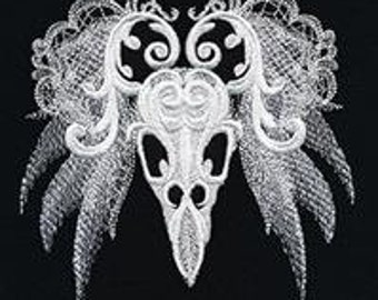 Ghost Baroque Raven Skull Embroidered Flour Sack Hand/Dish Towel