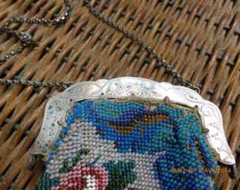antique purse, silver and beads