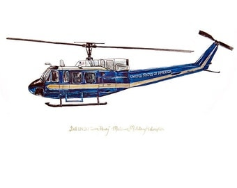 """UH-1N 1st Helicopter, US Aviation watercolor print, 8x10"""""""