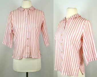 1960s Red and White Stripe Blouse by Ship'n Shore, Peter Pan Collar, Three Quarter Sleeve