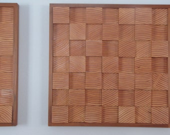 Modern Wood Block Wall Art - set of two - AMBER WAVE - Approx measurements:  17 3/4 inches wide X 17 3/4 inches tallS - ea