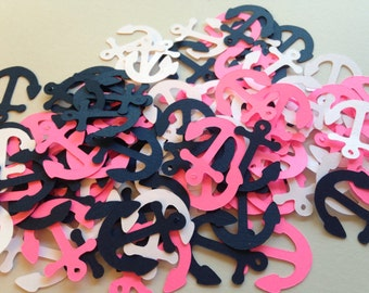 100 Hot Pink White Navy Anchor Confetti Nautical Die Cut Cutout Embellishment Table Scatter