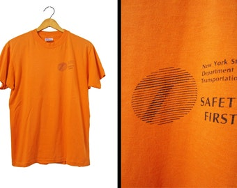 Vintage 80s NYS DOT T-shirt Fluorescent Orange Dept of Transportation - Small / Medium