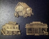 Lot Of 3 Vintage JJ Brass/Bronze Pins Brooches-Saloon-Livery-Sheriff's Office