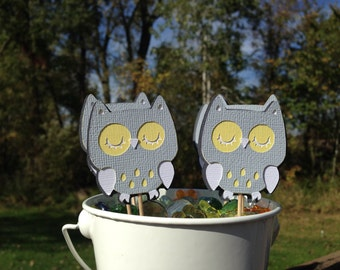 Owl Cupcake Toppers Yellow White and Gray