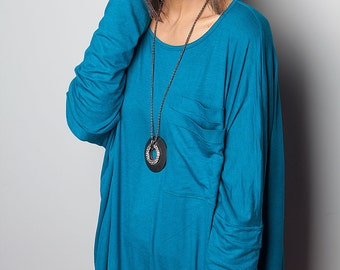 Tunic Dress / Short Dress / Turquoise Blouse - Short Comfortable Long Sleeve Dress : Urban Chic Collection No.7