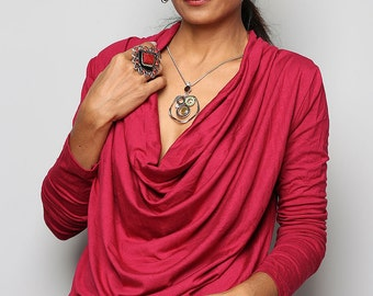 Red Tunic / Trendy Blouse Tunic / Red sweater : Urban Chic Collection No.23
